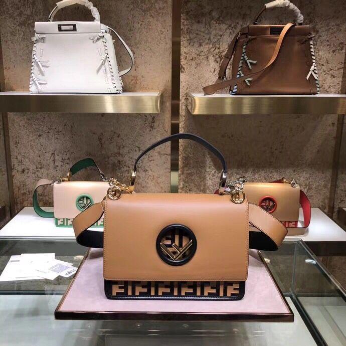 Fendi Calfskin Leather Flap Shoulder Bag 6886 brown