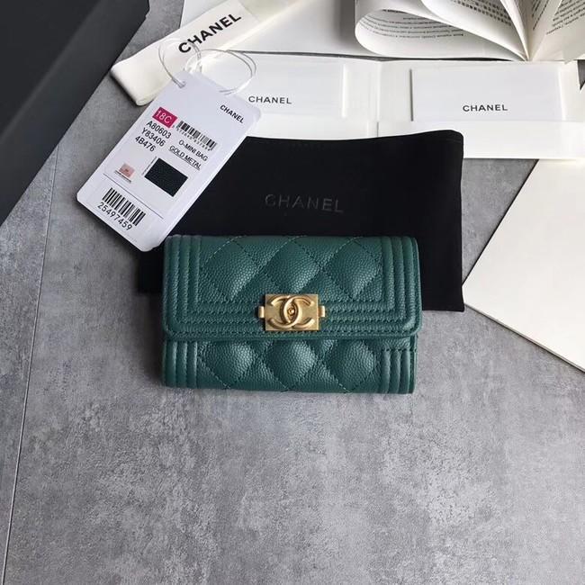BOY CHANEL Card Holder A80603 green