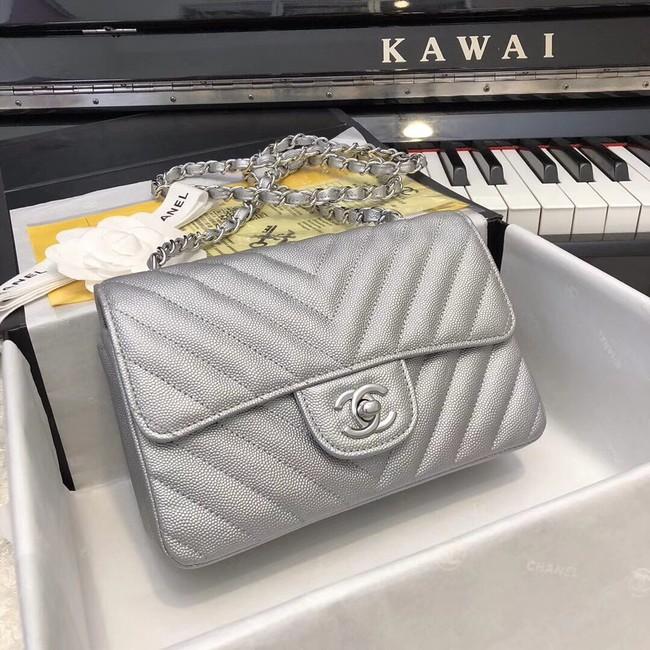 Chanel Small Classic Handbag Grained Calfskin & silver-Tone Metal A69900 silver