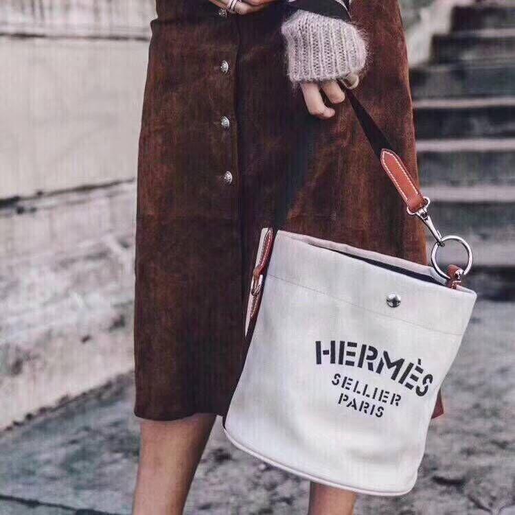 Hermes H Sac De Pansage Canvas HS18237 White