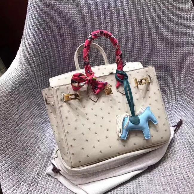Hermes Real ostrich leather birkin bag BK35 creamy-white