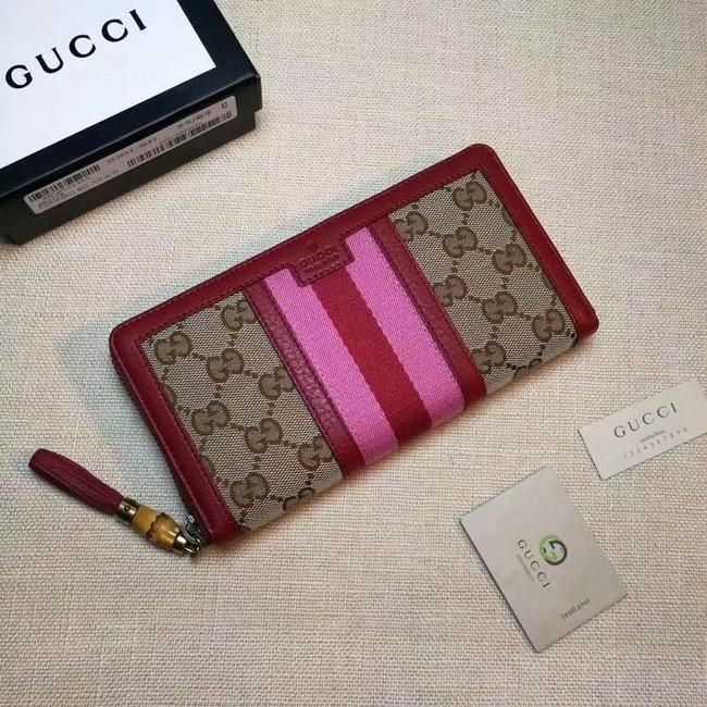 Gucci GG canvas zipper wallet 353651 red