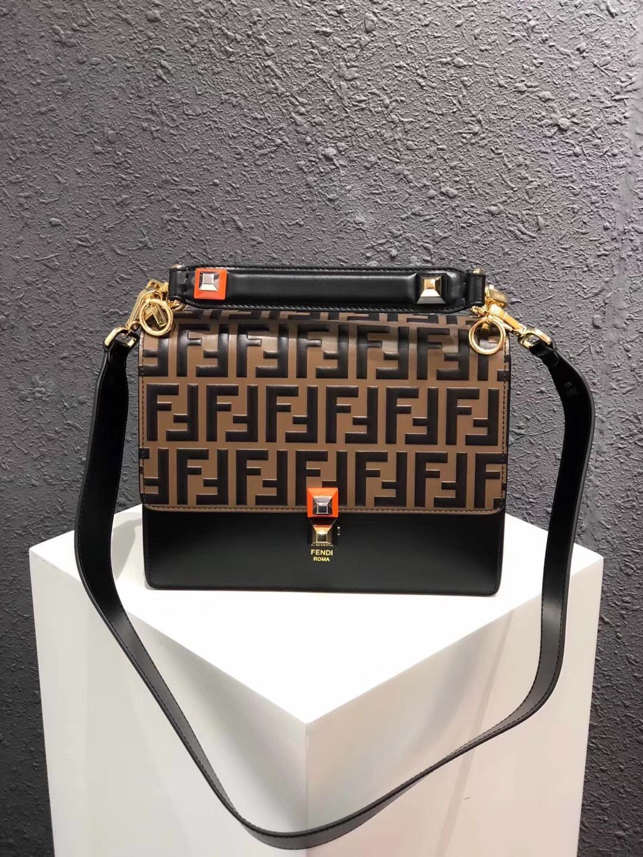 FENDI Kan I Leather Shoulder Bag 13137