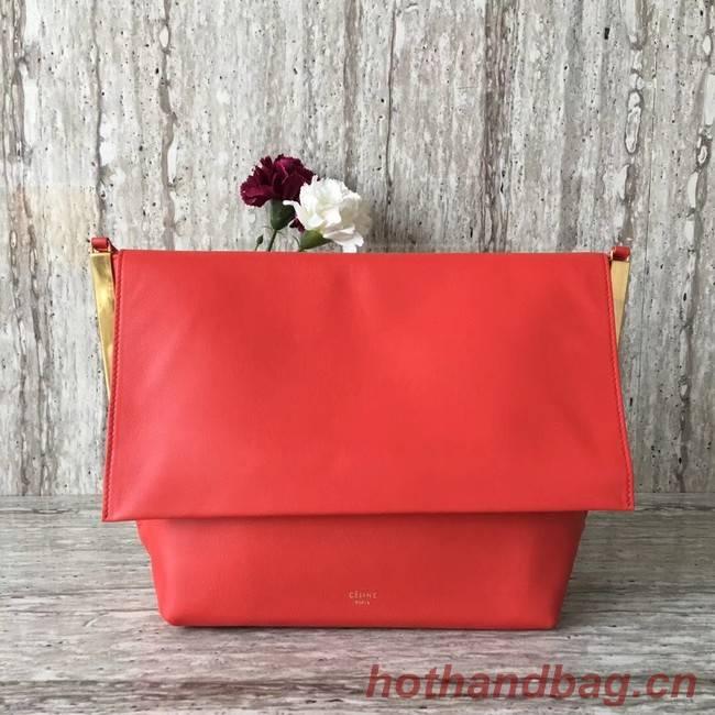 Celine calf leather Shoulder Bag 90054 red
