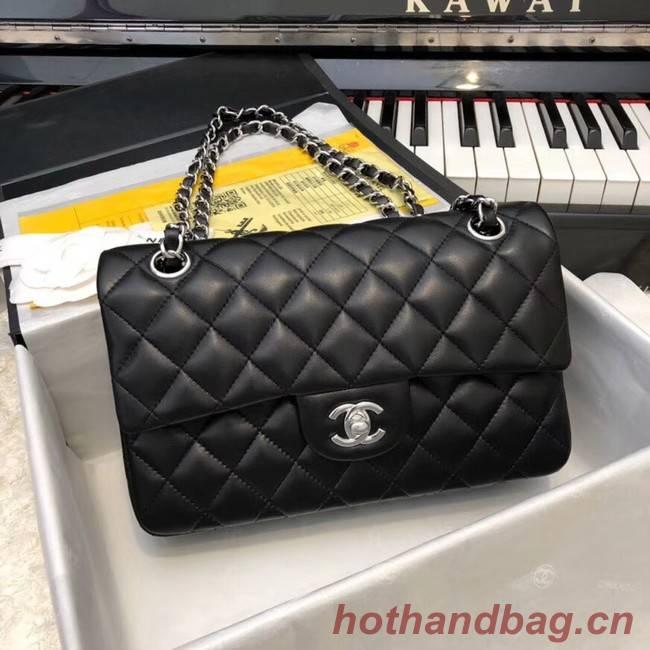 Chanel Small Classic Handbag Sheepskin silver-Tone Metal A01113 black