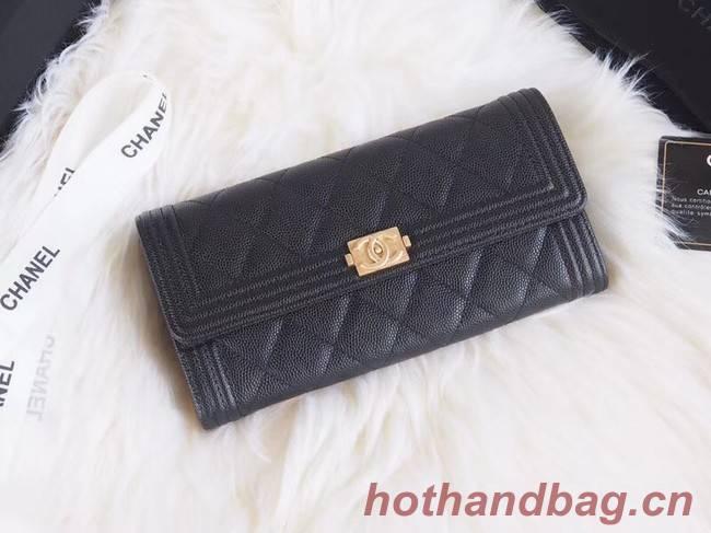 BOY CHANEL Flap Wallet A80286 black gold-Tone Metal