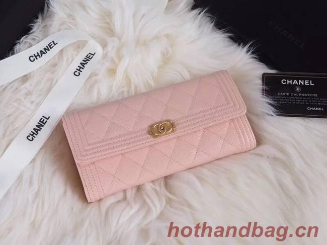 BOY CHANEL Flap Wallet A80286 pink gold-Tone Metal