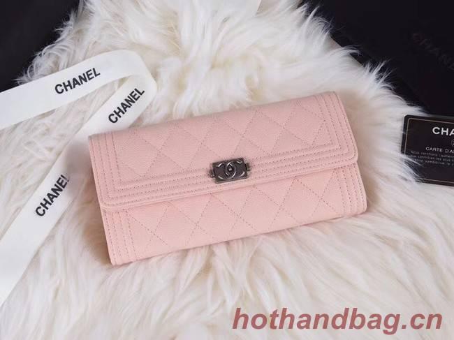 BOY CHANEL Flap Wallet A80286 pink silver-Tone Metal