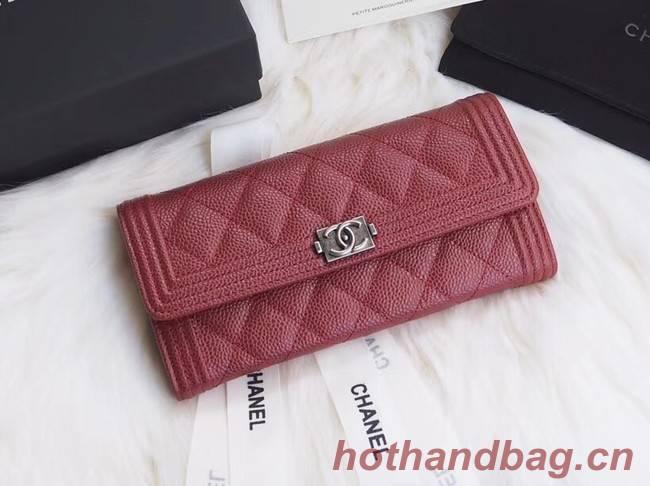 BOY CHANEL Flap Wallet A80286 red silver-Tone Metal