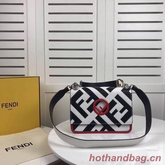 Fendi KAN I LOGO Handbag 8BS089 white&black