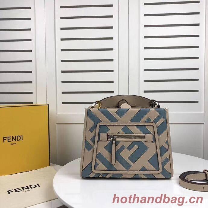 Fendi KAN I LOGO Handbag 8BS087 grey&Light blue