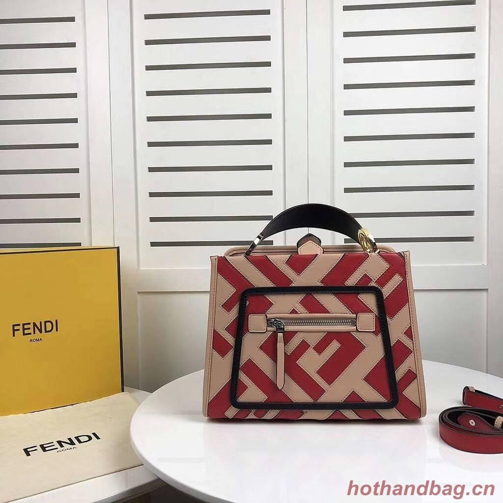 Fendi KAN I LOGO Handbag 8BS087 red&pink