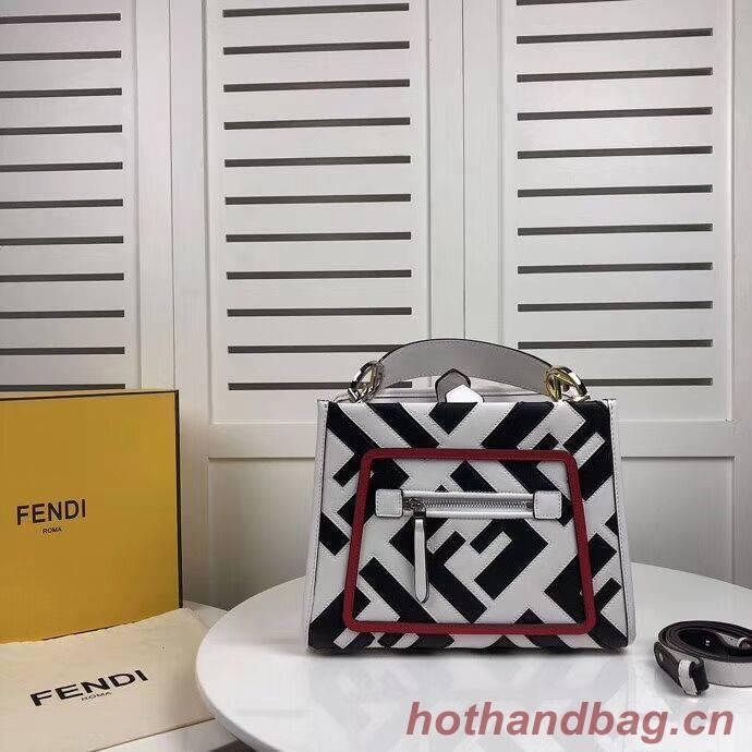 Fendi KAN I LOGO Handbag 8BS087 white&black