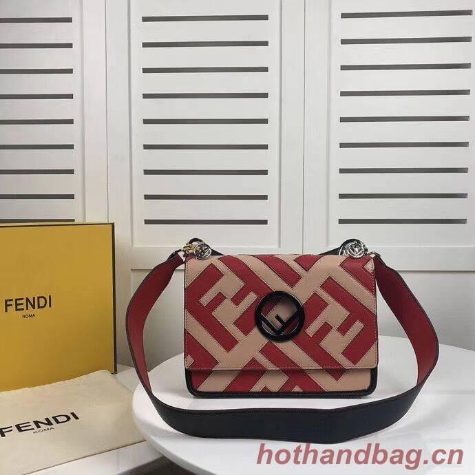 Fendi KAN I LOGO Handbag 8BS089 red&pink