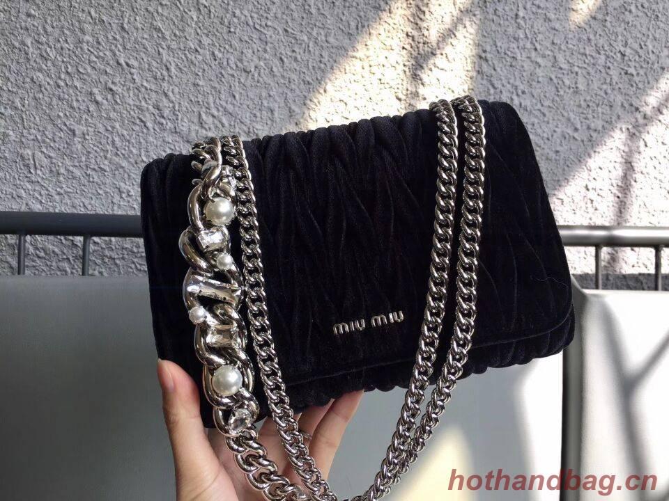 miu miu velvet Leather Flap Shoulder Bag 5BD041 black