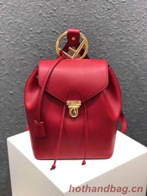 FENDI Kan I Leather knapsack 2570 red
