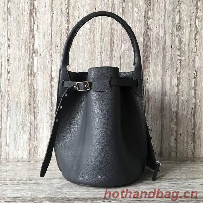 CELINE BIG BAG BUCKET IN SUPPLE GRAINED CALFSKIN 55427 Dark grey