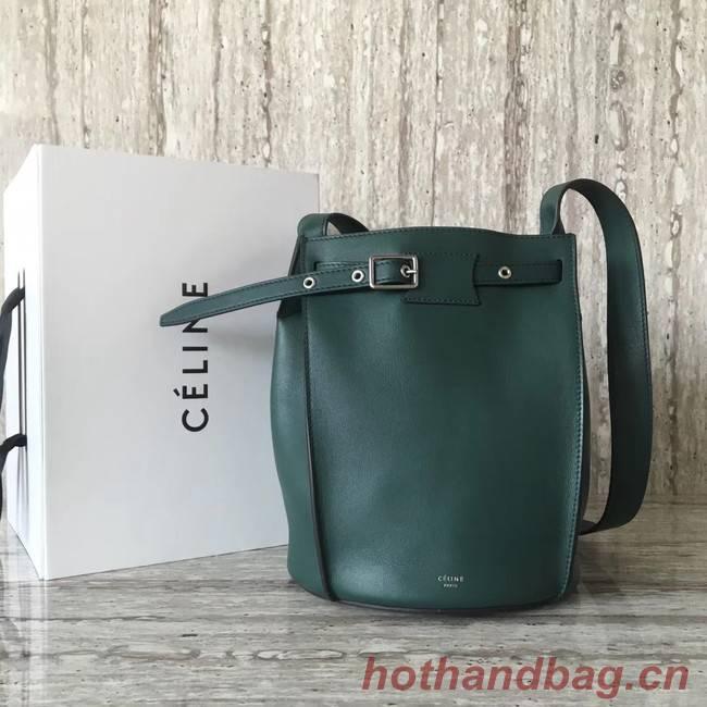 CELINE BIG BAG BUCKET IN SUPPLE GRAINED CALFSKIN 55428 green