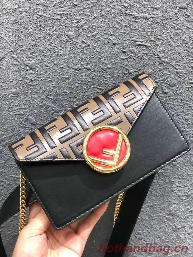 FENDI Kan I Leather Pocket Bag 13163 black
