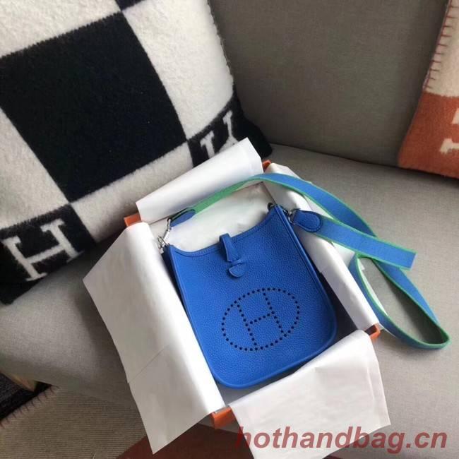 Hermes Evelyne original togo leather mini Shoulder Bag H15698 blue
