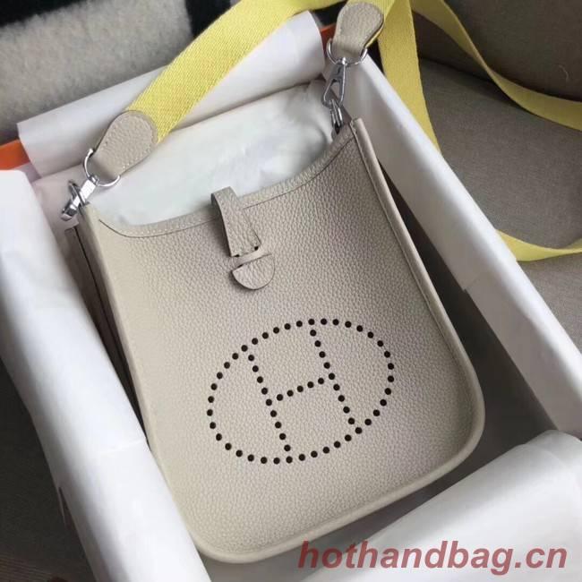 Hermes Evelyne original togo leather mini Shoulder Bag H15698 light gray