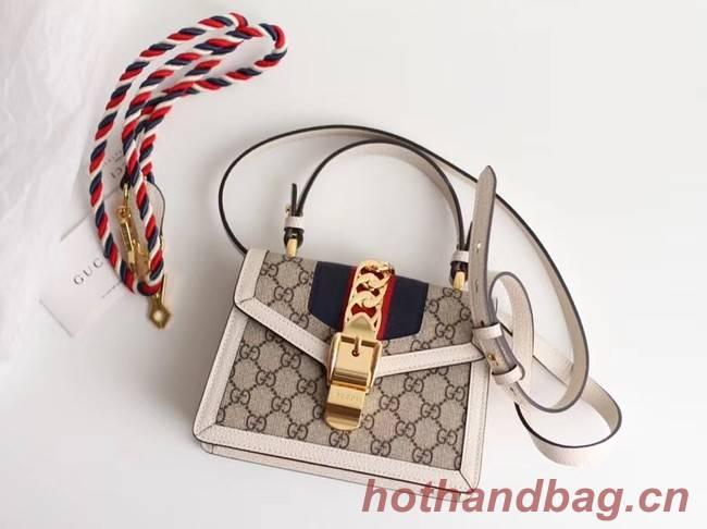 Gucci Sylvie GG Supreme canvas mini bag 470270 white