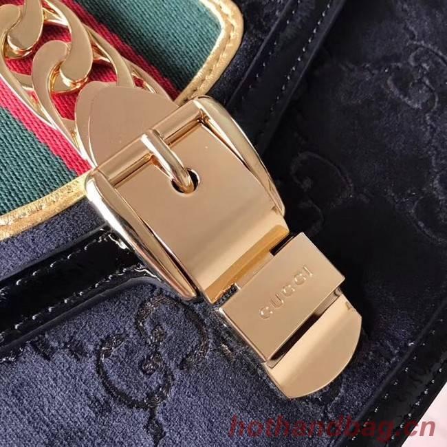 aed58f0cf78 Gucci Sylvie GG velvet small shoulder bag 524405 black  524405 ...