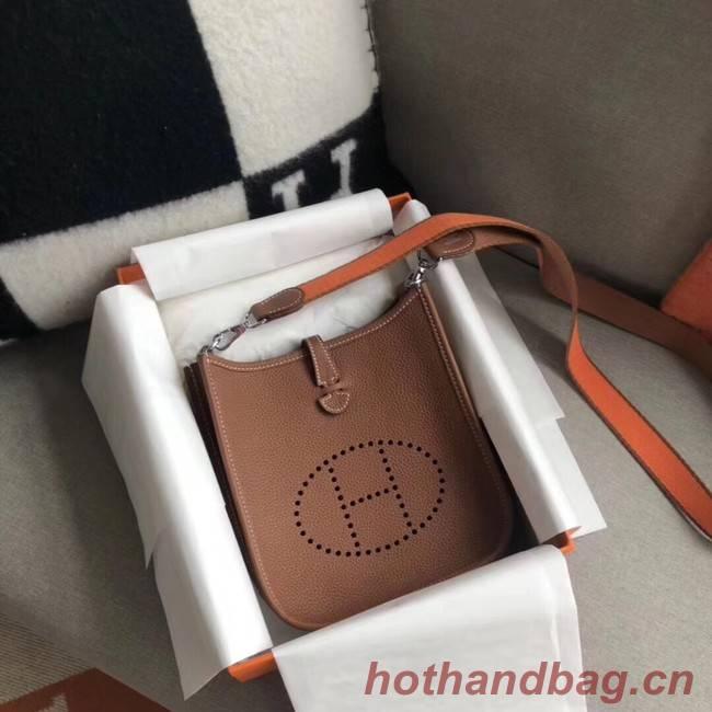 Hermes Evelyne original togo leather mini Shoulder Bag H15698 Camel