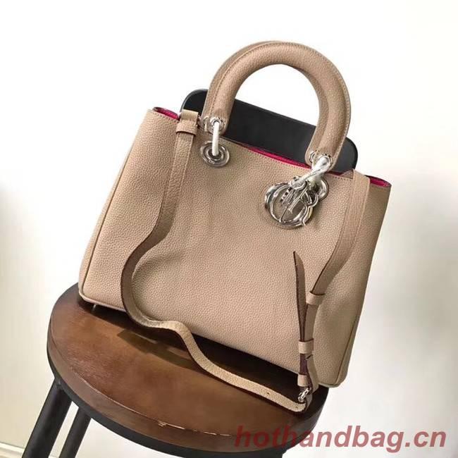 Dior Diorissimo Bag in Original Grainy Leather CD0678 apricot & silver-Tone Metal