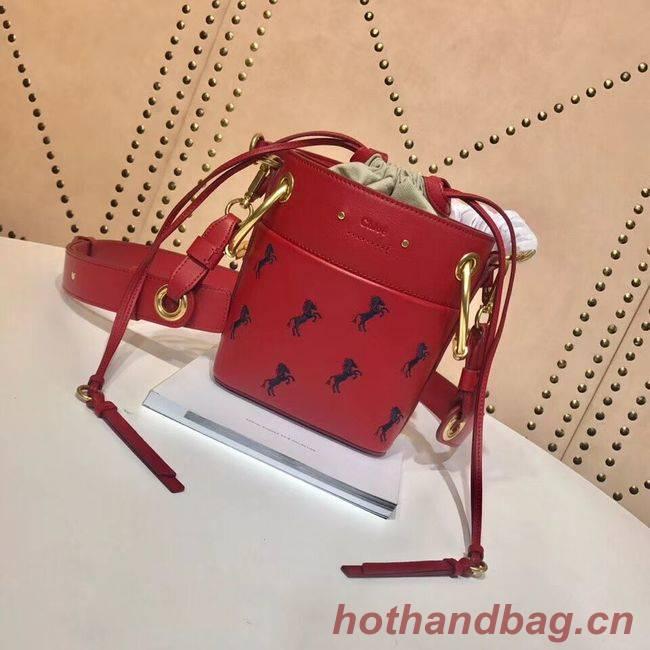 CHLOE Mini Roy leather bucket bag 3E128C red
