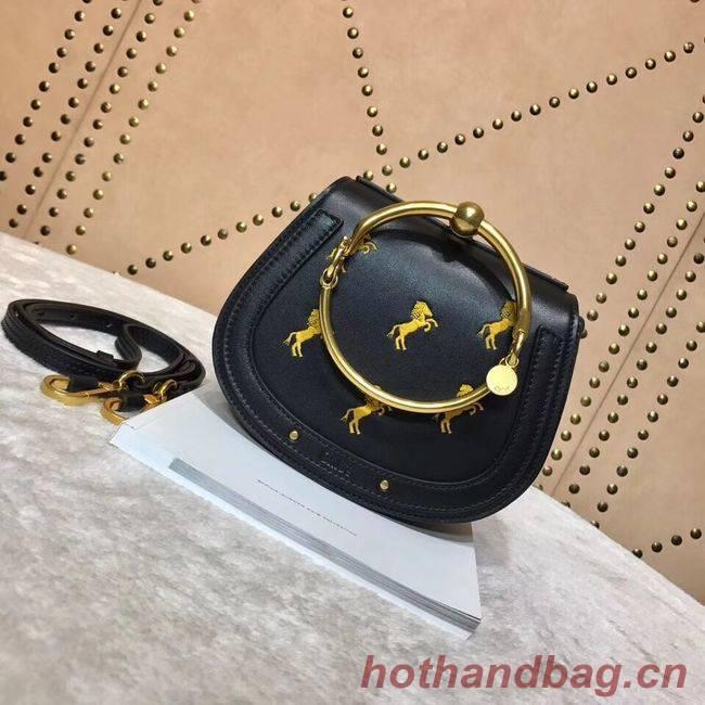 CHLOE Small Nile leather Horse bracelet bag 3E1302 black