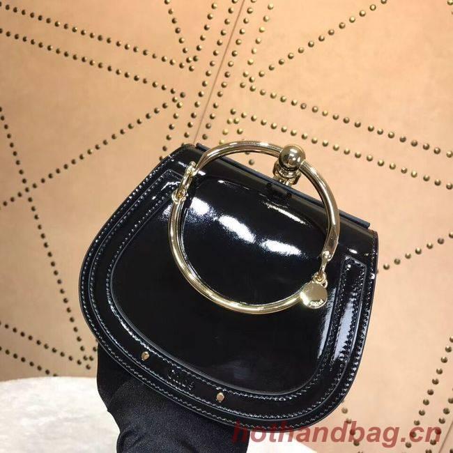 CHLOE Small Nile patent leather bracelet bag 3E1302 black