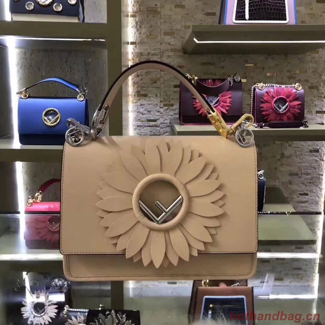 FENDI Kan I Leather Shoulder Bag B9288 Apricot