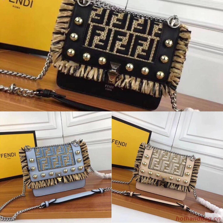 Fendi Calfskin Leather Flap Shoulder Bag FF019