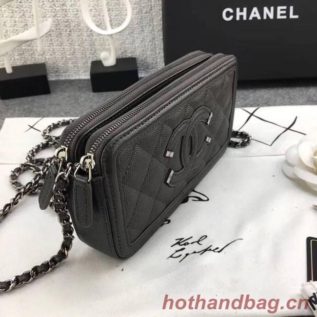 bef4b377a09b ... Chanel Classic Clutch with Chain Grained Calfskin & silver-Tone Metal  A84450 dark grey ...
