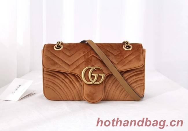 Gucci GG Marmont velvet medium shoulder bag 443497 Taupe