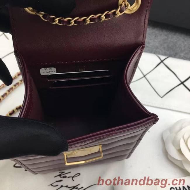 Chanel Original Clutch with Chain A81226 Calfskin & Gold-Tone Metal A81226 Burgundy