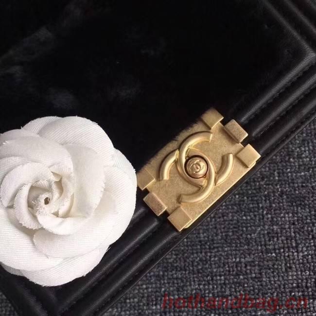 BOY CHANEL Flap Bag with Handle Orylag Calfskin & Gold-Tone Metal A94805 black