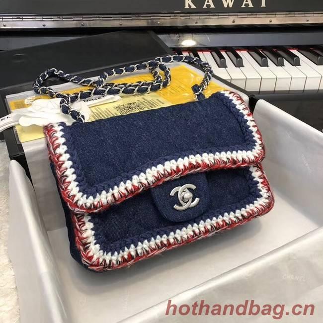 CHANEL Mini Flap Bag Denim Braid & Silver-Tone Metal A69900 dark blue