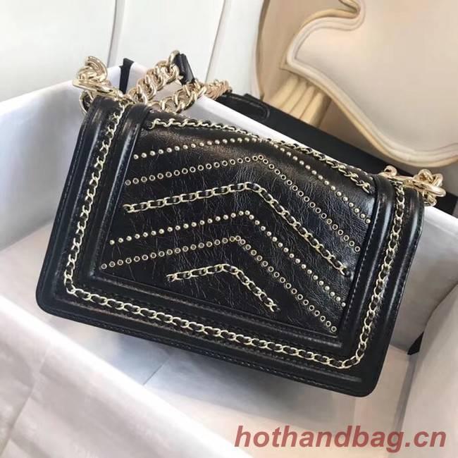 10590874ab74c3 ... Small BOY CHANEL Handbag Crumpled Calfskin & Gold-Tone Metal A67085  black ...