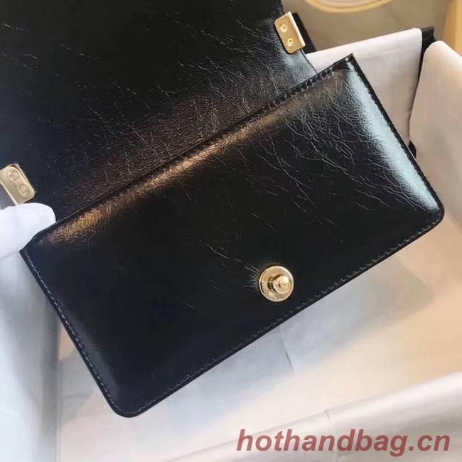 Small BOY CHANEL Handbag Crumpled Calfskin & Gold-Tone Metal A67085 black
