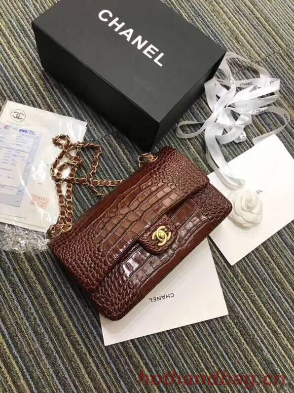 Chanel Classic Handbag Original Alligator & Gold-Tone Metal A01112 Burgundy