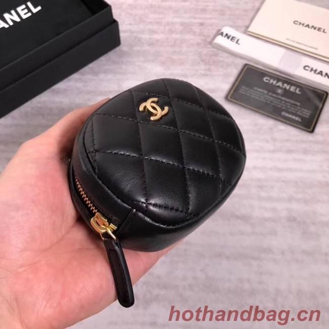 Chanel Coin Purse Lambskin & Gold-Tone Metal A68995 black