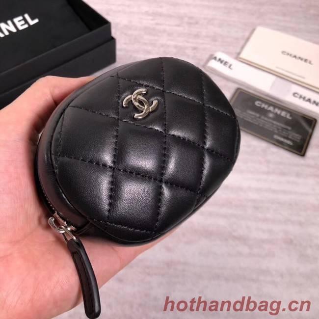 Chanel Coin Purse Lambskin & Silver-Tone Metal A68995 black