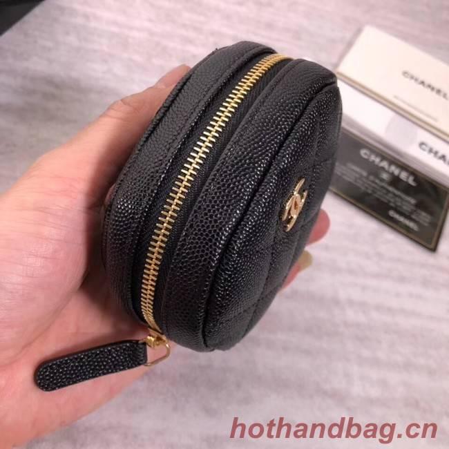 Chanel Coin Purse Metallic Grained Lambskin & Gold-Tone Metal A68995 black
