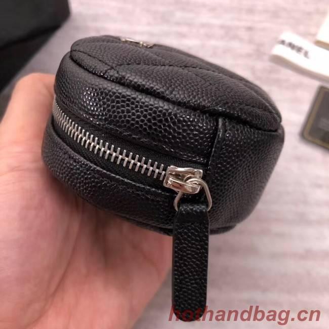 Chanel Coin Purse Metallic Grained Lambskin & Silver-Tone Metal A68995 black