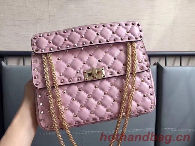 VALENTINO Rockstud medium leather shoulder bag 0123 pink