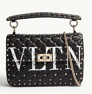 VALENTINO Rockstud spike medium shoulder bag 2601 black