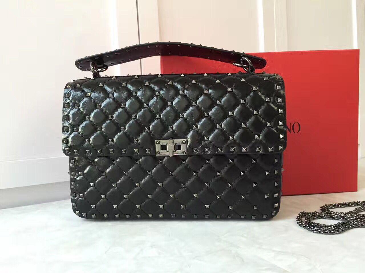 VALENTINO Spike quilted leather large shoulder bag A0327 black