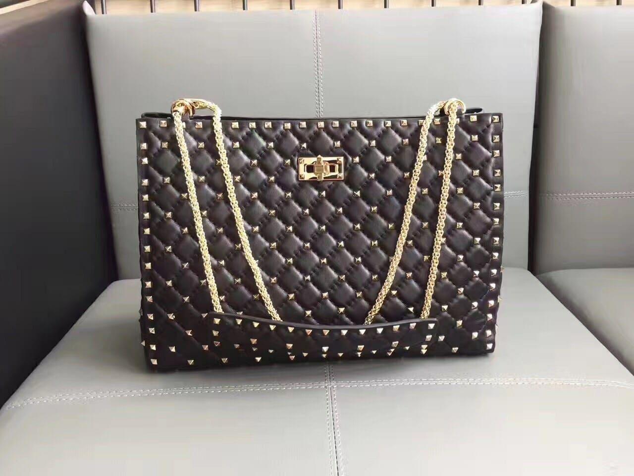 Valentino Starry Series Shopping Bag Original Sheepskin Leather 0346 Black